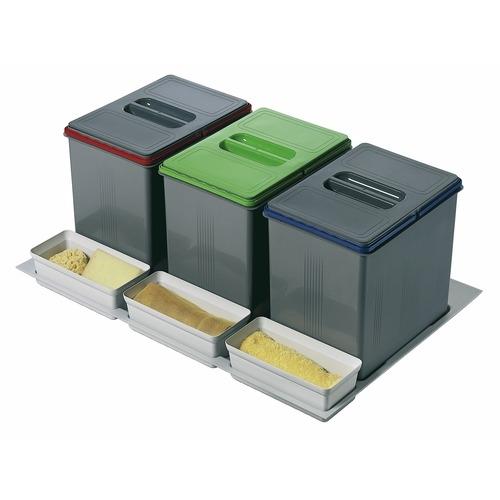 poubelle pour tiroir 3 bacs 3 x 15 litres inoxa poubelles cuisine. Black Bedroom Furniture Sets. Home Design Ideas